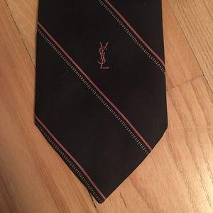 Yves Saint Laurent Accessories - Yves Saint-Laurent Vintage Neck Tie Navy Pink